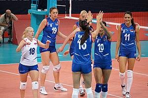 Seleção Sérvia de Voleibol Feminino  a jogadora usando cor diferente 1338388a37062