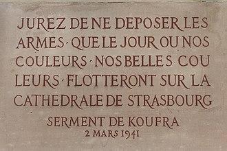 Philippe Leclerc de Hauteclocque - Serment de Koufra, plaque in Strasbourg