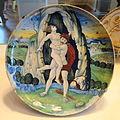 Shallow bowl with Hercules overcoming Antaeus, workshop of Maestro Giorgio Andreoli of Gubbio, 1520 - National Gallery of Art, Washington - DSC08644.JPG