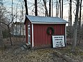 Shed with wreath and sign, Sydenstricker School.jpg