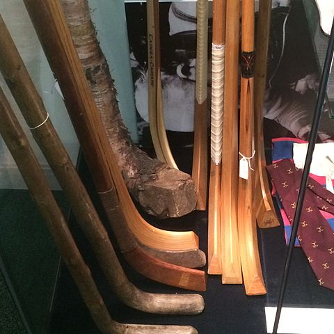 Display of shinty stick development throughout modern history - Scottish Shinty