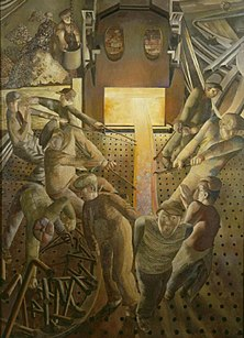 Stanley Spencer's Shipbuilding on the Clyde: The Furnaces; 1946.[158]