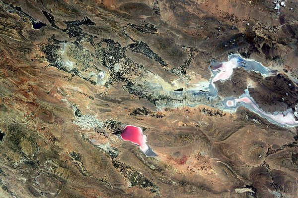 ESA astronaut Samantha Cristoforetti of Italy who is photographing Earth from the International Space Station, taken May 22, 2015, Pink area is Maharloo lake