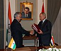 Shivraj V. Patil and the Egypt's Minister for Foreign Affairs, Mr. Abul Gheit after signing the Bilateral Agreements on the Transfer of Sentenced Persons and Mutual Legal Assistance in Criminal Matters, at Cairo.jpg