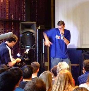 Shlomo beatboxing at the Dana Centre in London.