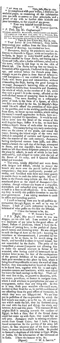 Sidney Smith's description of the Siege of Acre, The Times, Aug 02, 1799 Sidney Smith, Napoleon Siege of Acre, The Times, Friday, Aug 02, 1799.png