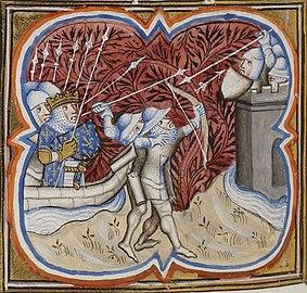 Miniature représentant Louis IX à bord d'un navire chargé de soldats tandis que d'autres soldats à terre attaquent une tour bien défendue.