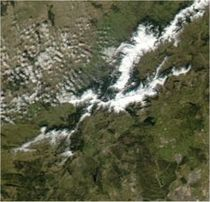 Satellite photo showing the snow-capped peaks of the Guadarramas.