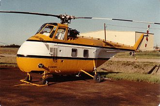 Sikorsky H-19 Chickasaw - A Sikorsky S-55B in service with Golden West Helicopters, St. Albert, Alberta, 1985. Fairings for transmission and tail rotor driveshaft have been removed; note later-style downward-inclined tailboom.