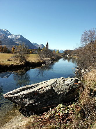 Sils im Engadin/Segl - Segl Maria with the church in Segl Baselgia in the background