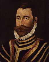 Painting of a man with dark hair and large moustache