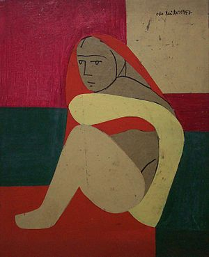 Otto Müller (painter) - Otto Müller, Sitting woman, oil on pasteboard, 24.5 × 20cm, 1947