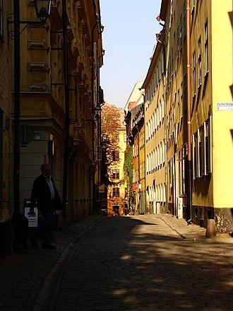 Själagårdsgatan - View of Själagårdsgatan with Brända Tomten in the background.