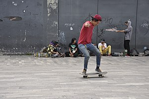 Freestyle skateboarding tricks - Image: Skateboarding at Mexico City Flip 093