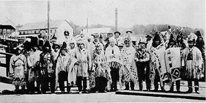Squamish people - a Delegation of various Salish leaders in Vancouver wearing traditional regalia in 1906.