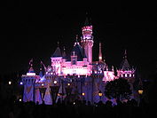 Sleeping Beauty's Castle at night.JPG