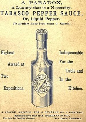 John Avery McIlhenny - Tabasco brand pepper sauce advertisement from John Avery McIlhenny's tenure as head of McIlhenny Company, circa 1895