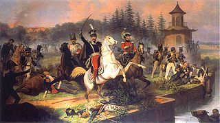 Death of Prince Józef Poniatowski in the Battle of Leipzig.