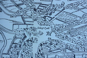 "Smithfield, London - Smithfield from the ""woodcut"" map of c. 1561, illustrating its proximity with open fields to the west, and cattle pens by the City"