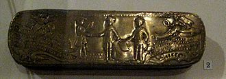 Miracle of the House of Brandenburg - This Prussian snuff-box was made in 1762 to celebrate the Treaty of Saint Petersburg. Frederick II is shown shaking hands with Peter III of Russia and Adolf Frederick, King of Sweden