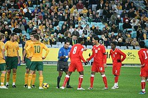 Football in Bahrain - The Bahrain national football team playing Australia on June 10, 2009 in a World Cup qualifier