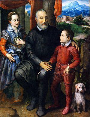 Sofonisba Anguissola - Family Portrait, Minerva, Amilcare and Asdrubale Anguissola, c.1559