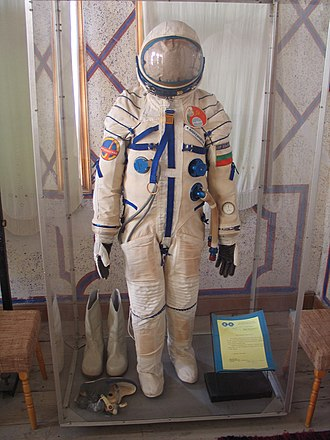 """Science and technology in Bulgaria - """"Sokol""""-type space suit, developed by the Bulgarian Space Agency and used by cosmonauts Georgi Ivanov and Aleksandur Aleksandrov"""