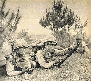Zhejiang-Jiangxi campaign - A Japanese soldier with 50mm heavy grenade discharger during the Zhejiang-Jiangxi Campaign, 30 May 1942.
