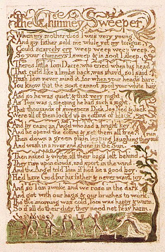 The Chimney Sweeper - Image: Songs of Innocence, copy B, 1789 (Library of Congress) object 16 The Chimney Sweeper