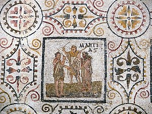 Martius (month) - Panel thought to depict the Mamuralia from a mosaic of the months that places March first (from El Djem, Tunisia, first half of 3rd century AD)