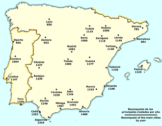 Reconquista of the main towns (per year) Spain Reconquista cities.png