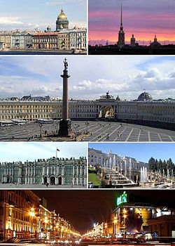 Clockwise frae top left: Saunt Isaac's Cathedral rises ower the ceety, Peter an Paul Fortress on Zayachy Island, Palace Square wi the Alexander Column, Petergof, Nevsky Prospekt, an the Winter Palace