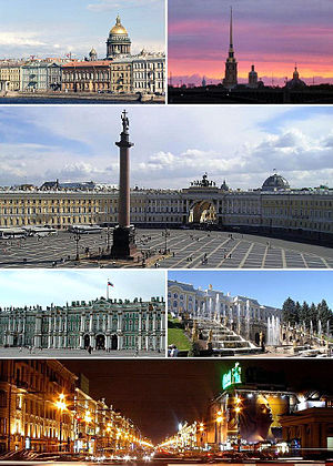 Vista de San Petersburgo y la Catedral de San Isaac, la Fortaleza de San Pedro y San Pablo y la Isla Zayachy, La Plaza del Palacio, el Palacio de Invierno, el Peterhof, y el Nevsky Prospekt