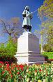 Spring Grove Cemetery & Arboretum - Tulips at Civil War Statue.jpg