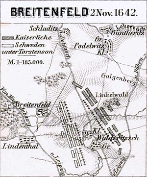 Battle of Breitenfeld (1642) - Map of the battle.
