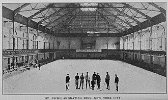 St. Nicholas Rink - A group of ice hockey players on the St. Nicholas Rink.