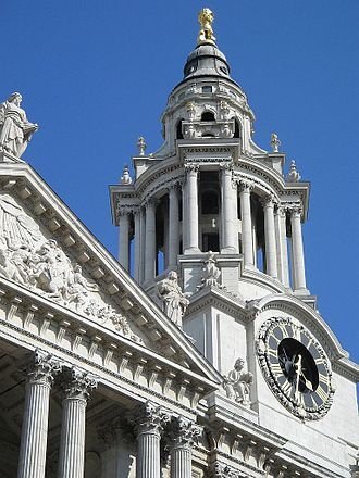 18th-century London - The Clock Tower of Wren's St. Paul's Cathedral.