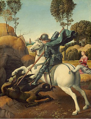 Saint George's Day - Saint George and the Dragon Oil painting by Raphael (1505–1506)