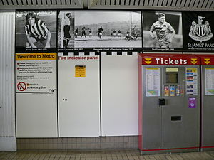 St James' Park - The St James Metro station ticket hall carries artwork depicting a timeline of the history of Newcastle United