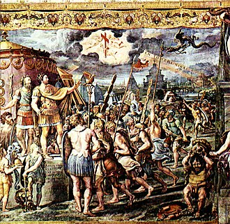 "In hoc signo vinces - Detail from The Vision of the Cross by assistants of Raphael, depicting the vision of the cross and the Greek writing ""Ἐν τούτῳ νίκα"" in the sky, before the Battle of the Milvian Bridge."