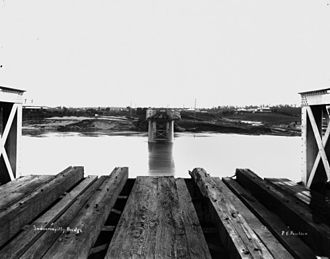 Indooroopilly, Queensland - 1st Railway Bridge, flood damaged, Indooroopilly, 1893