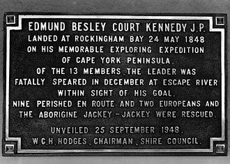 Rockingham Bay - Memorial plaque for Edmund Kennedy at Rockingham Bay, unveiled in 1948