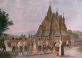 Stave church Heddal, Johannes Flintoe, 1828.png