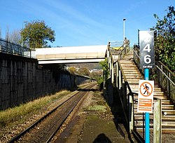 Steps up to a footbridge, Tonypandy Railway Station - geograph.org.uk - 2668782.jpg