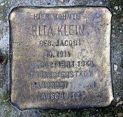Photo of Rita Klein brass plaque