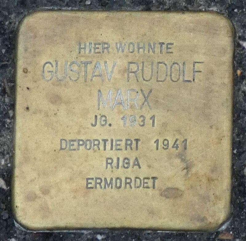 Stolperstein Gustav Rudolf Marx, Gescher Bushaltestelle Fabrikstraße.jpg