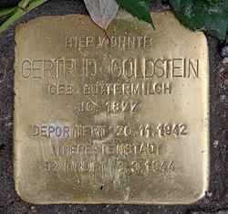 Photo of Gertrud Goldstein brass plaque