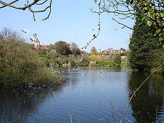 Faversham explosives industry - Stonebridge pond, water from which powered Faversham's gunpowder mills