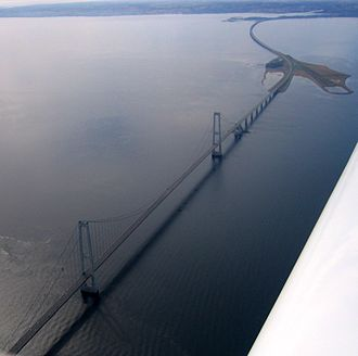 Great Belt Fixed Link - The East Bridge as seen from above.