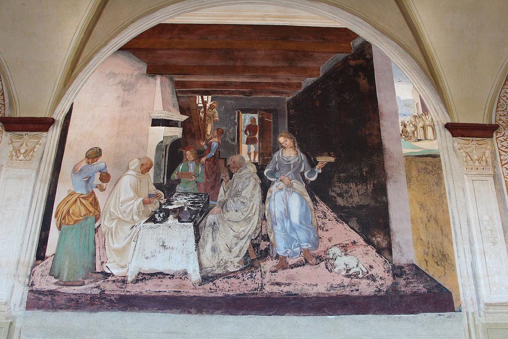 Luca Signorelli, le storie di San Benedetto, Scena 25 - Come Benedetto dice alli monaci dove e quando avevano mangiato fuori dal monastero